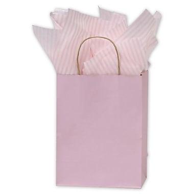 Sacs de magasinage à rayures vernies, 8 1/4 x 4 3/4 x 10 1/2 (po), rose pâle, 250/paquet