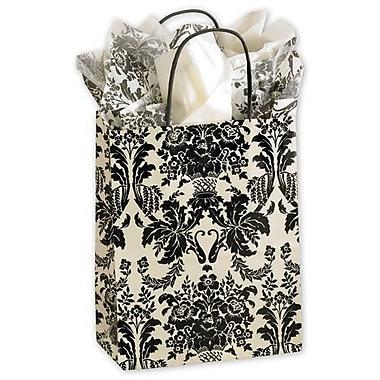 Sacs de magasinage Cub onyx damassé, 8 1/4 x 4 3/4 x 10 1/2 po, ivoire/noir, 250/paquet
