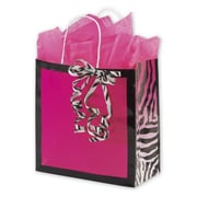 """Paper 10.5""""H x 10""""W x 5""""D Shopping Bags, Pink, 100/Pack"""