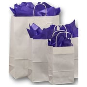 Kraft Paper Shopper Bags, White, 100/Pack