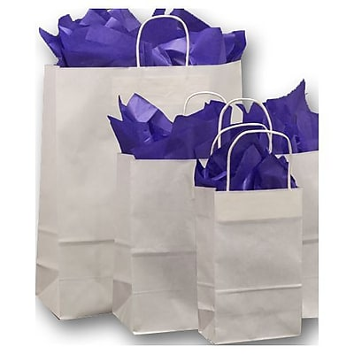 Kraft Paper Shopper Bags, White, 100/Pack