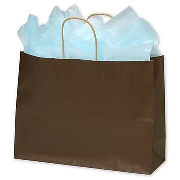 16″ x 6″ x 12 1/2″ Color-On-Kraft Shoppers, Chocolate (15-160612-44)