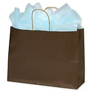"""16"""" x 6"""" x 12 1/2"""" Color-On-Kraft Shoppers, Chocolate (15-160612-44)"""