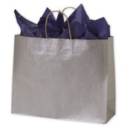 "Kraft Paper 12.5""H x 16""W x 6""D Shopping Bags, Silver, 250/Pack"