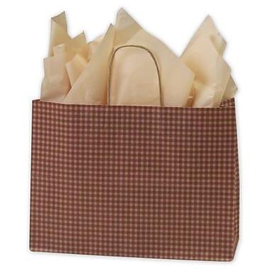 Sacs de magasinage à motif guingan, 16 x 6 x 12 1/2 (po), rouge, 250/paquet