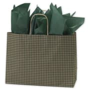 "Kraft Paper 12.5""H x 16""W x 6""D Shopping Bags, Green, 250/Pack"