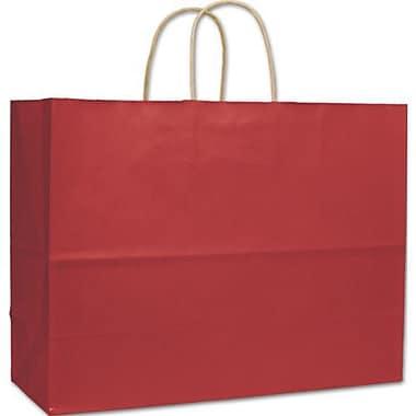 Sacs de magasinage à rayures vernies, 16 x 6 x 12 1/2 (po), rouge, 250/paquet
