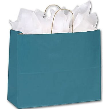 Sacs de magasinage à rayures vernis, 16 x 6 x 12 1/2 po, vert paon, 250/paquet