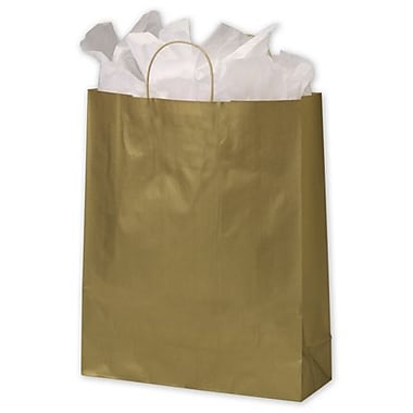 Metallic-On-Kraft – Sacs de magasinage, 16 x 6 x 19 (po), doré, 200/paquet