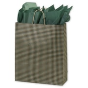 "16"" x 6"" x 19"" Gingham Printed Shoppers, Green"