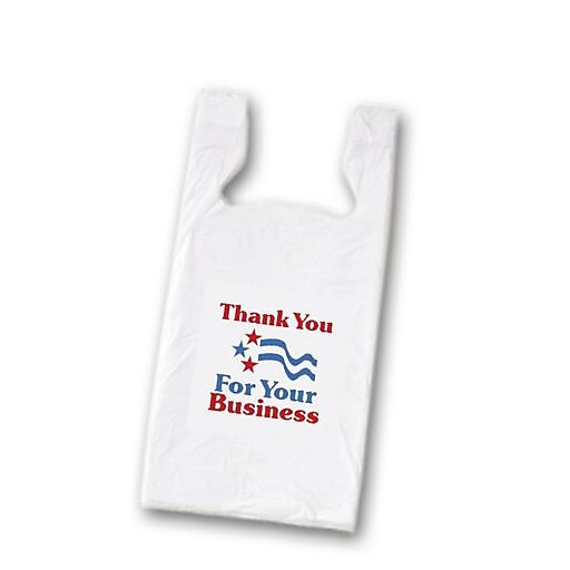 """Bags & Bows® 23"""" x 11 1/2"""" x 7"""" Thank You Pre-Printed Bags, White, 1000/Pack"""
