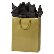 """Paper 10""""H x 8""""W x 4""""D Euro-Shopping Bags, Gold, 200/Pack"""