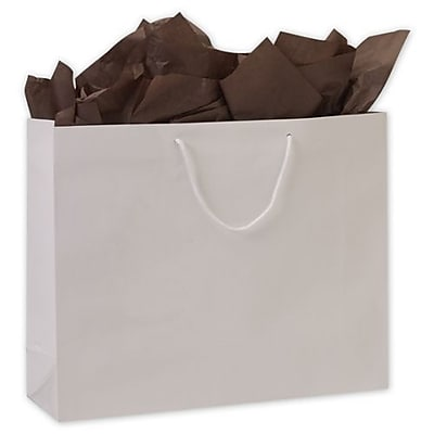 "Paper 16""H x 20""W x 6""D Euro-Shopper Bags, White, 50/Pack"