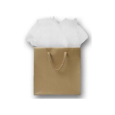 Sacs de magasinage européens mats plastifiés, 6 1/2 x 3 1/2 x 6 1/2 po, doré, 200/paquet