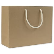 """Bags & Bows® 13"""" x 5"""" x 10"""" Recycled Groove Euro-Shoppers, Kraft, 100/Pack"""