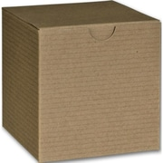"Bags & Bows® 4"" x 4"" x 4"" One-Piece Gift Boxes, Kraft, 100/Pack"