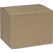 """Bags & Bows® 4 1/2"""" x 4 1/2"""" x 6"""" One-Piece Gift Boxes, Kraft, 100/Pack"""
