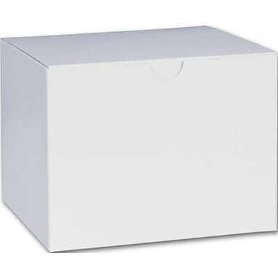 """Bags & Bows® 4 1/2"""" x 4 1/2"""" x 6"""" One-Piece Gift Boxes, White, 100/Pack"""