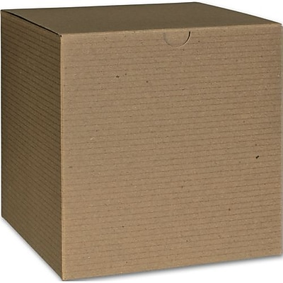 """Bags & Bows® 6"""" x 6"""" x 6"""" One-Piece Gift Boxes, Kraft, 100/Pack"""