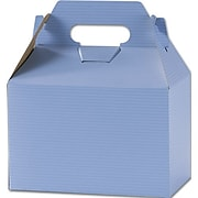 """Kraft Paper 5.25""""H x 4.88""""W x 8""""L Varnish Striped Gable Boxes, French Blue, 100/Pack"""