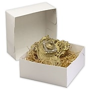 """Bags & Bows® 8"""" x 8"""" x 3 1/2"""" Two-Piece Gift Boxes, White, 100/Pack"""