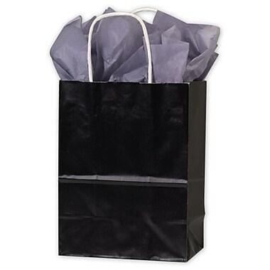 Sacs de magasinage en papier très lustré, 8 1/4 x 4 3/4 x 10 1/2 (po), noir, 250/paquet