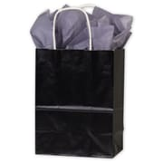 "High Gloss Paper Shoppers, 8-1/4"" x 4-3/4"" x 10-1/2"", Black, 250/Pack"