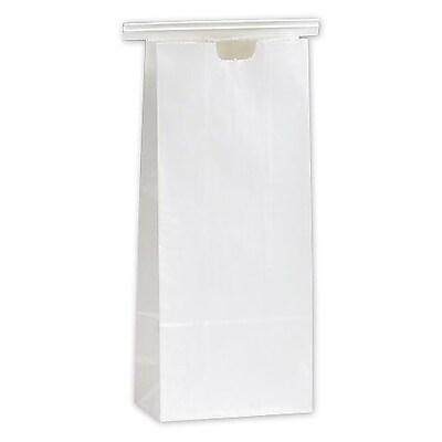 "Polypropylene 9.75""H x 4.25""W x 2.5""D Tin-Tie Food Bags, White, 100/Pack"