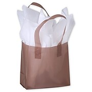 "Polyethylene 6.5""H x 6.5""W x 3.5""D Frosted Shopping Bags, Chocolate, 250/Pack"
