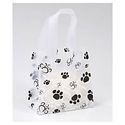 "Bags & Bows® 6 1/2"" x 3 1/2"" x 6 1/2"" Paws Frosted Shoppers, Black on White, 100/Pack"