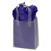 "Bags & Bows® 8"" x 4"" x 10"" Frosted High Density Flex Loop Shoppers, Clear, 250/Pack"