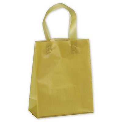 "Polyethylene 10""H x 8""W x 4""D Frosted Shopping Bags, Gold, 250/Pack"