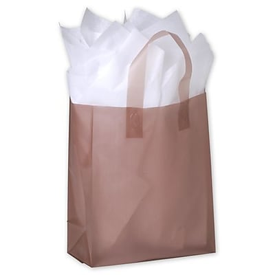 """Polyethylene 10""""H x 8""""W x 4""""D Frosted Shopping Bags, Chocolate, 250/Pack"""