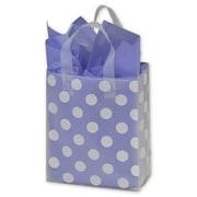"Bags & Bows® 8"" x 4"" x 10"" Dots Frosted Flex Loop Shoppers, White on Clear, 100/Pack"