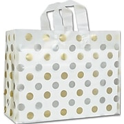 "16"" x 6"" x 12"" Dots Frosted Flex Loop Shoppers, Gold and Silver on Clear"