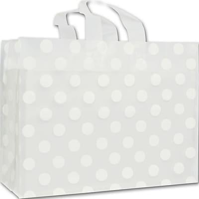 "Polyethylene 12""H x 16""W x 6""D Shopping Bags, White Dots, 100/Pack"