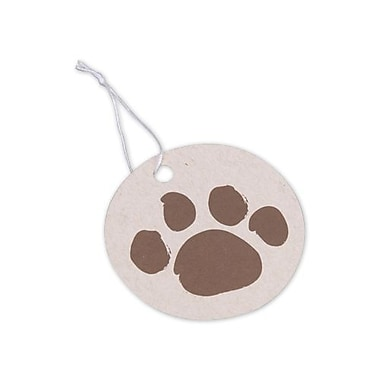 Brown Paws on Circle Oatmeal Gift Tag, 2 1/2