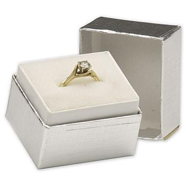 Coffret à bijoux, 1 1/2 x 1 1/4 x 1 1/2 po, lin argenté, paquet de 100