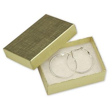 Boîtes à bijoux en lin, 3 1/16 x 2 1/8 x 1 (po), doré, 100/paquet