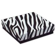"""3 1/2"""" x 3 1/2"""" x 7/8"""" Zebra Jewelry Boxes, Black/White"""