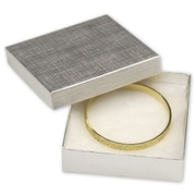 """3 1/2"""" x 3 1/2"""" x 1"""" Linen Jewelry Boxes, Silver"""