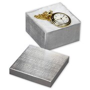 """3 1/2"""" x 3 1/2"""" x 2"""" Linen Jewelry Boxes, Silver"""