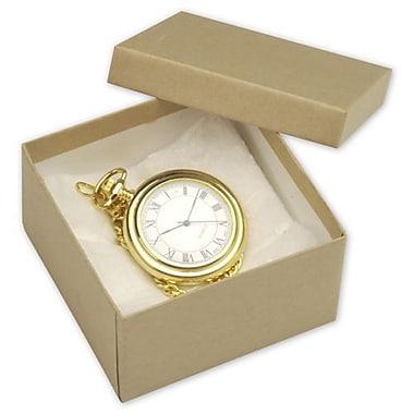 Boîtes à bijoux, 3 1/2 x 3 1/2 x 2 po, kraft, naturel, 100/paquet