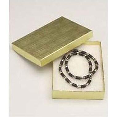 Boîtes à bijoux en lin, 5 1/4 x 3 3/4 x 7/8 po, doré, 100/paquet