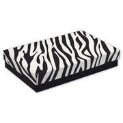 """5 7/16"""" x 3 1/2"""" x 1"""" Zebra Jewelry Boxes, Black/White"""