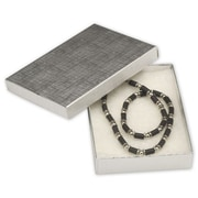 """5 1/4"""" x 3 3/4"""" x 7/8"""" Linen Jewelry Boxes, Silver"""