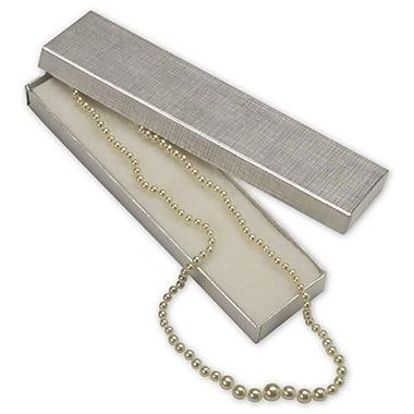 Coffrets à bijoux papier lin, 8 x 2 x 7/8 po, argenté, 100/paquet