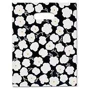 "Bags & Bows® 9"" x 12"" Martine Frosted High Density Merchandise Bags, Black/White, 500/Pack"