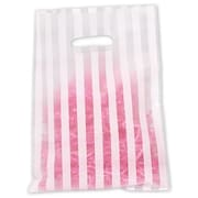 "Polyethylene 12""H x 9""W High Density Merchandise Bags, White Stripes on Clear, 500/Pack"