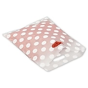 """Bags & Bows® 12"""" x 15"""" Dots Frosted High Density Merchandise Bags, White on Clear, 500/Pack"""
